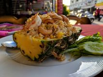 Pineapple with rice and shrimps stock images