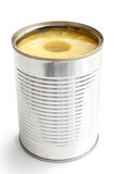 Pineapple rings in a tin in perspective. Royalty Free Stock Images