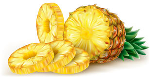 Pineapple and round slices Stock Photo