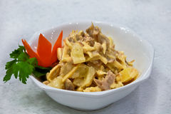 Pineapple salad with meat. A dish of Pineapple salad with meat Royalty Free Stock Photos