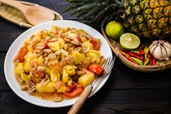 Pineapple Salad Som-tums Pineapple stock photos