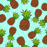 Pineapple seamless pattern. Blue background. Juicy fruits background vector illustration