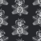 Pineapple seamless pattern. Hand drawn vector tropical fruit illustration on chalk board. Engraved style ananas fruit. Retro. Pineapple seamless pattern. Hand royalty free illustration