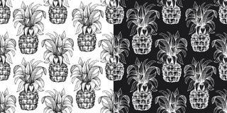 Pineapple seamless pattern. Hand drawn vector tropical fruit illustration. Engraved style ananas fruit. Retro botanical background. Pineapple seamless pattern stock illustration