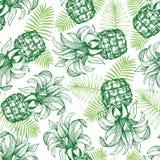 Pineapple seamless pattern. Hand drawn vector tropical fruit illustration. Engraved style ananas fruit. Retro botanical background. Pineapple seamless pattern royalty free illustration