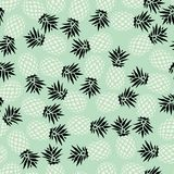 Pineapple seamless pattern on mint background, vector Stock Images