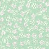 Pineapple seamless pattern on mint background, vector Stock Photos