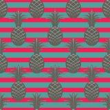 Pineapple seamless pattern on stripe background Royalty Free Stock Photo