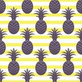 Pineapple seamless pattern on stripe background Stock Image