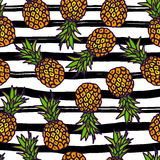 Pineapple seamless pattern on strips background. Stock Image