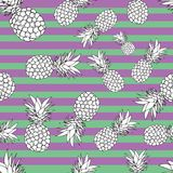 Pineapple seamless pattern. summer pattern on a stripy background. Summer tropical fruit pattern. exotic fruit hand drawn Royalty Free Stock Photo