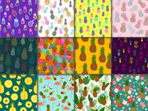 Pineapple seamless pattern vector ananas or tropical fresh fruit with flamingo textured backdrop and sweet exotic Stock Photos