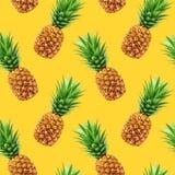 Pineapple seamless pattern on yellow background royalty free illustration