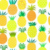 Pineapple seamless pattern. Yellow summer background vector illustration
