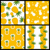 Pineapple Seamless Patterns Set Stock Photo