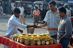 Pineapple seller. Picture was taken in Old Delhi (India Stock Image