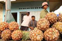 Pineapple sellers. On the market in Morondava in Madagascar royalty free stock images