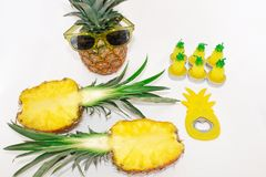 Pineapple set Two pineapples in sunglasses, a mug with juice, one pineapple, a can opener and candles in the shape of pineapples. On a white background. Still stock photos