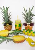 Pineapple set Two pineapples in sunglasses, a mug with juice, one pineapple, a can opener and candles in the shape of pineapples. On a white background. Still royalty free stock image