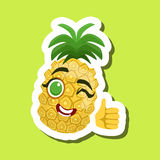Pineapple Showing Thumbs Up, Cute Emoji Sticker On Green Background Royalty Free Stock Image