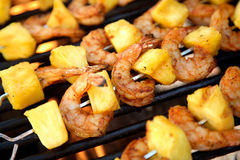 Pineapple Shrimp On The Barbeq Stock Photos