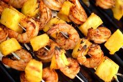 Pineapple Shrimp On The Barbeq Stock Image