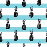 Pineapple silhouettes pattern on striped background. stock illustration