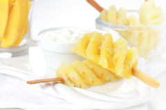 Pineapple skewer with curd cheese Royalty Free Stock Images
