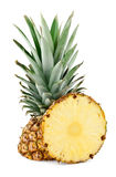 Pineapple and slice. On white background royalty free stock image