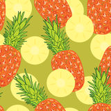 Pineapple slice seamless pattern Stock Photos