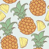 Pineapple with slice seamless pattern Royalty Free Stock Photo