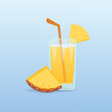 Pineapple slices and fresh juice isolated.  natural tropical coctail realistic fruit. Cartoon health food. Royalty Free Stock Image