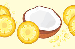 Pineapple slices and half coconut. Seamless border for design stock photos