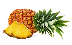Pineapple with slices isolated Royalty Free Stock Images