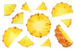 pineapple slices isolated on white background with clipping path and full depth of field. Top view. Flat lay