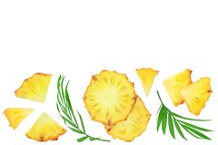 pineapple slices isolated on white background . Top view with copy space for your text. Flat lay