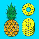 Pineapple And Slices Over Blue Background Royalty Free Stock Photo