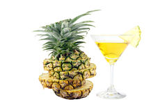 Pineapple slices and Pineapple juice in a glass. Stock Image
