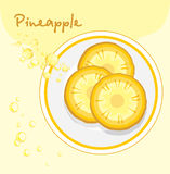 Pineapple slices in a plate. Label for design stock photos