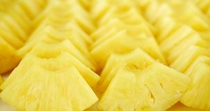 Pineapple slices platter rotating close up. Pineapple slices platter rotating, close up stock video