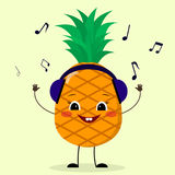 Pineapple Smiley in headphones. Pineapple Smiley in headphones listens to music in a cartoon style royalty free illustration