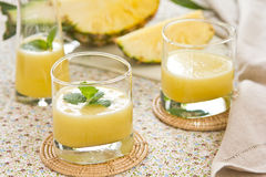 Pineapple smoothie. Fresh Pineapple smoothie with mint on top Royalty Free Stock Photo