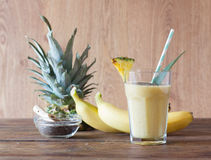 Pineapple smoothie. With chia seed on wooden table Stock Photo