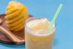 Pineapple smoothie in glass. Close up of pineapple smoothie in glass Royalty Free Stock Image