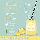 Pineapple smoothie recipe. Royalty Free Stock Images