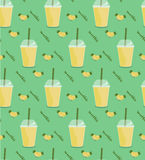 Pineapple smoothie seamless pattern. Royalty Free Stock Image