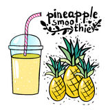 pineapple smoothie vector Royalty Free Stock Image