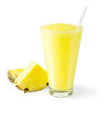 Pineapple Smoothie on White Background Royalty Free Stock Images