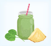 Pineapple spinach green smoothie  Royalty Free Stock Images