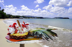 Pineapple and strawberry with ice cream. In St Lucia Stock Image